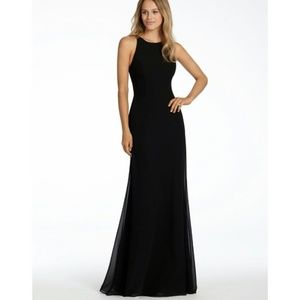 Hayley Paige Occasion Black Crewneck Chiffon Gown